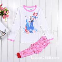 2014 new Frozen elsa anna  princess 2-7T   girls pajama  2pieces 100% cotton children clothing sleepwear set free shipping