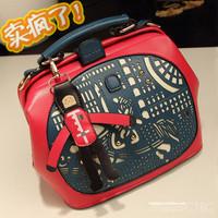 2013 women's handbag doodle color block star formal HARAJUKU bag dinner multifunctional one shoulder cross-body handbag
