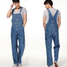 Macacão plus size tamanho grande enorme dos homens calças jeans jardineiras moda bolso macacões masculino grátis frete(China (Mainland))