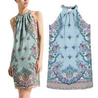 2014 Summer New Vintage Cashew Print Dress Women Mango Style Knee-Length Chiffon Dress Halter Casual Dress