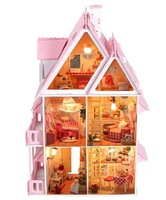 Free Shipping Assembling DIY Miniature Model Kit Wooden Doll House, Unique Big Size House Toys With Furnitures For Kids & Lover