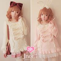 Princess sweet lolita sweater Bobon21 soft amo warm cream white pink bow lace lantern sleeve comfortable thick cashmere t0931
