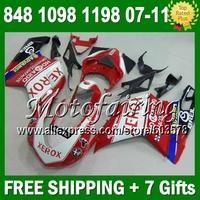 7gifts Fairings For DUCATI 848 1098 1198 Xerox S R 07 08 09 10 11 8JM29 HOT 1098S 1198S Red white black 2007 2008 2009 2010 2011