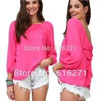 Five Colors S-XXL,New Fashion Women Clothing Chiffon Shirt 2014 Summer Loose Backless Bow Blouse free shipping B031