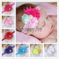 Newborn Net Gauze flower Headbands With Pearl Drill Elastic Headband Baby Hair Accessories Infant Flower Pearl Hairband Headwear