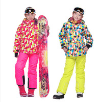 2014New FREE SHIPPING phibee kids clothing set  windproof skiing jacket+pant snow suit -20-30 DEGREE
