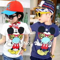 2014 New summer cotton Kids boys clothing girls clothing child short-sleeve T-shirt basic shirt Baby Boys cartoon T Shirts