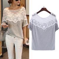 New 2014 Casual Sweet Hollow Out Lace Cutout Shirt Women Handmade Crochet Cape Collar Batwing Sleeve Tops T shirt Lady's Tee