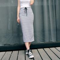 2014 Women's summer Placketing cotton stripe slim hip half-length skirt full  bust skirt 2230