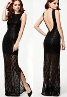 Women Summer Dress Black Lace Maxi Dress With Sequinslong gpwn sexy party casula dress women 2014 Free Shipping