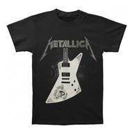 2014 METALLICA  Black & White James Hetfield Guitar Below Logo  Men's T-Shirt 100% cotton  Accept group/mix order