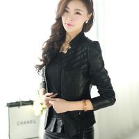 Free shipping 2014 spring women's motorcycle genuine leather clothing female short design slim leather jacket coat