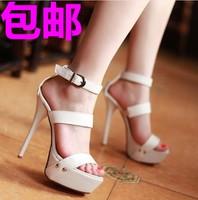 Summer sexy 2014 women's sandals shoes platform sandals thin heels sandals rivet ultra high heels white sandals shoes plus size