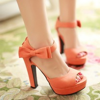 Hot sale 2014 sandals women sweet bow package with water high-heeled shoes thick heel platform plus size sandals shoes 33-43