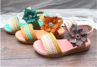 2Child Sandals Slip-resistant Weave Flower children sheos,pink,green and orange girls sandals