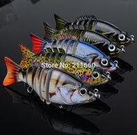 "5pc/lot New 2015  6 Sections Fishing Lure 10.5cm/4.2""-0.74oz/20.9g Swimbait Fishing bait 6# Black Hook Fishing Tackle"