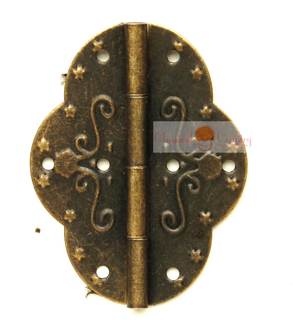 10 sets of Embossed Hinges for Cabinet Trunk Jewelry Box Storage box Furniture Hardware Hinges Imitation Bronze(China (Mainland))