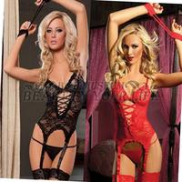 1Set Sexy Erotic Lace Lingerie Nightwear Set Women's Underwear Sleepwear Black/Red