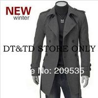 Free Shipping 2014 New Men's Jackets Double Platoon Dust Coat Male Wool Coat Color:Black,Gray DV008