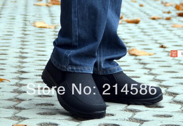 Frete grátis 2014 Inverno Pequim - algodão feitas sapatos masculinos de alta -top homens sapato de espessamento térmica botas de neve dos homens idosos atacado(China (Mainland))