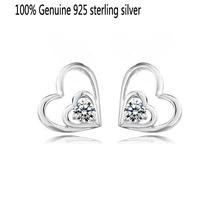 Wholesale Genuine 925 sterling silver crystal fashion earrings heart wedding jewelry for women 8P415