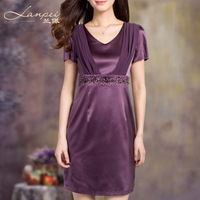 new 2014 spring and summer dress women's mulberry silk print ol solid color a-line  high quality silk one-piece dress
