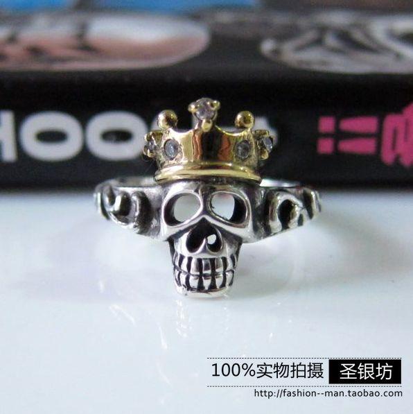 Thai silver ring Men Women 925 pure silver small gold punk skull ring pinky ring(China (Mainland))