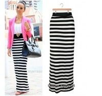 2014 Fashion stripe dress bust skirt slim hip skirt full dress high waist skirt fish tail skirt