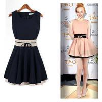 New 2014 Women's Plus Size Patchwork Brief Black Beige Cute Summer Dress for Women Wholesale Price dress for Women