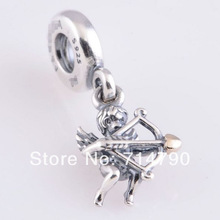 925 Sterling Silver Cupid Dangle Charm Bead Fit European Jewelry Bracelets Necklaces Pendants