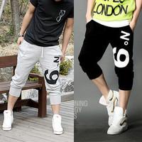 Free shipping! 2014 new  cotton polyester Casual Rope Men's Sport Pants Wholesale Sports capris pants male trousers capris pants