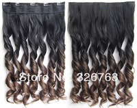 "Hot Sale 24"" Women Clip in on Hair Ombre Hair Extensions Two Tone Curly Hair Gradient Hair Extension Colorful Hairpieces BlackT8"