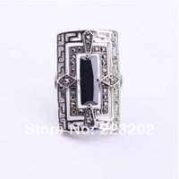 New Arrival Alloy Platinum Plated Black Crystal Jewelry  Rings Size#7-10 For Men's Ring ,WNR883
