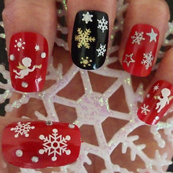2014 New 6 Sheets Christmas Snowflakes Santa Trees Design 3D Nail Art Stickers Decals Free Shipping(China (Mainland))