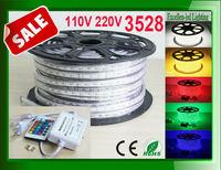 led neon rope lights 3528 110v 220v rgb warm cold nature white color + remote control + power plug