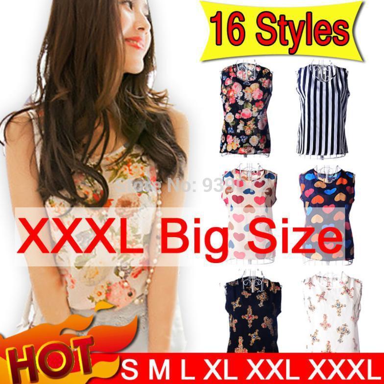 New 2014 Fashion Women Blouses Shirt Real Plus Size S-XXXL Summer Women Top Tee Shirt Bird/Flower Printed Shirt Ch