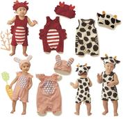 Retail Summer children's animal style clothing infant romper hooded sleeveless three-dimensional cow rabbit children set 6936003