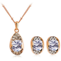2014 Popular Wedding Jewelry Sets Cubic Zirconia Necklace Crystal Stud Earrings Rose Gold Women Jewelry ML-239