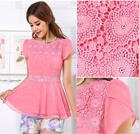 Ladies Summer Plus Size Chiffon Tops Blouses Floral Lace Trim With Tiered Flare Hem, l,xl,xxl,xxxl,xxxxl,xxxxxl, Free Shipping