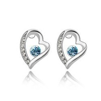 wholesale heart white gold plated crystal fashion stud earrings jewelry for women S2110