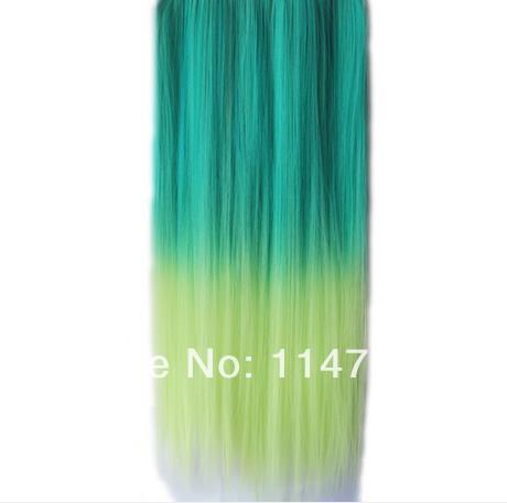 Cheap Multi Color Rainbow Hair Clip Full Head Clip In Hair Extensions High Heat Resistant Fiber Hair(China (Mainland))