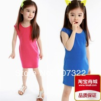 2014 children's clothing children cotton plain one-piece dress solid color girls sleeveless causal dresses for retail 6336012