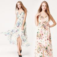 New 2014 8065  chiffon fish thread placketing full dress mopping the floor deep V-neck one-piece dress  wholesale