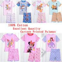 2014 New Summer Kids Wear Baby Cartoon Pajamas Grils Sofia Pyjamas Boys PJS Mickey Pijamas Clothing set Kids Printed Sleepwears