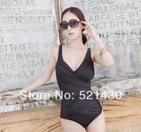 Free Shipping l, xl, xxl Swimwear 2014 hot spring Summer Women solid swim wears push up one-piece swimsuit Deep-V Sexy beachwear