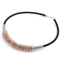 Necklace deserve to act the role of thick leather cord genuine crystal beads meniscus collarbone brief paragraph necklace