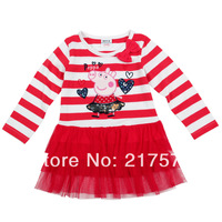 Peppa Pig Dress New Arrival girl's clothing Peppa Pig children's long sleeve dresst with colour styles whole sale 5 pcs /lot
