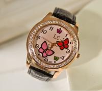 Retail Famous Brand 2014 New Butterfly Model Women Dress Watches,Fashion Leather Strap Quartz Rhinestone Wristwatch,Gift Watch