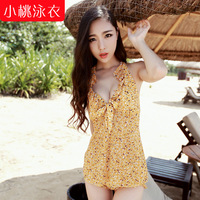 Small peach swimwear 2014 hot springs bikini piece set hot spring swimwear sexy push up swimwear