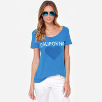 Vintage Casual American apparel Print Letter California Cotton Summer tops